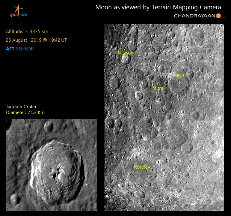 Jackson is an impact crater located in the northern hemisphere of the far side of the Moon.  It is a 71 km dia crater at 22.4°N and 163.1°W (shown in the inset).   The interesting feature at the western outer rim of Mach crater is another impact crater, Mitra (92 km dia).  It is named after Prof. Sisir Kumar Mitra, who was an Indian physicist and Padma Bhushan recipient known for his pioneering work in the field of ionosphere and Radiophysics. The Korolev crater seen in the image is a 437 km crater which has several small craters of varying sizes. (Source: Isro)