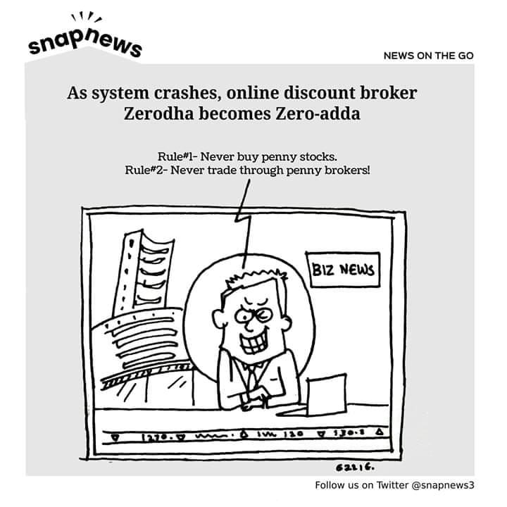 As system crashes, online discount broker Zerodha becomes Zero-adda
