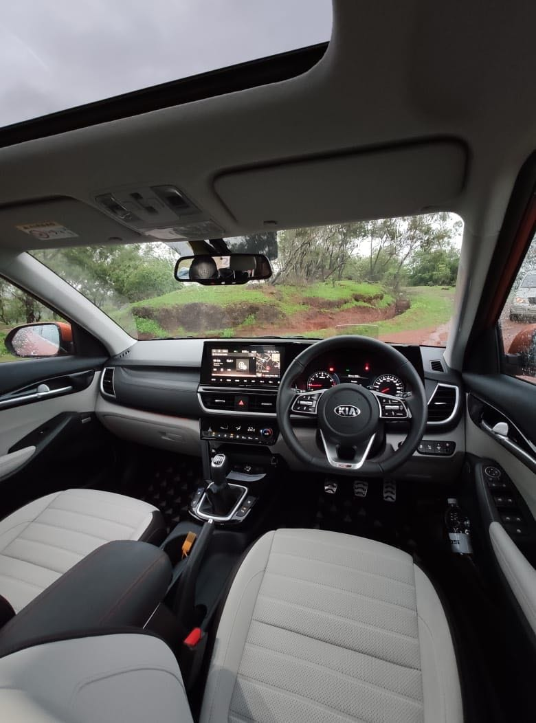 On the GTX+ variant, the flat-bottom steering is leather-wrapped with red stitching and that theme continues on the door pads as well as the seats which are beautifully upholstered in light and dark leather. The middle panel running between the side and middle AC vents is also finished in leather. On the GT Line variants, the pedals also get an aluminium finish. The piece de resistance though is a 10.25-inch touchscreen mounted on top of the dashboard along with the heads up display (HUD) that pops up from behind the instrument console.