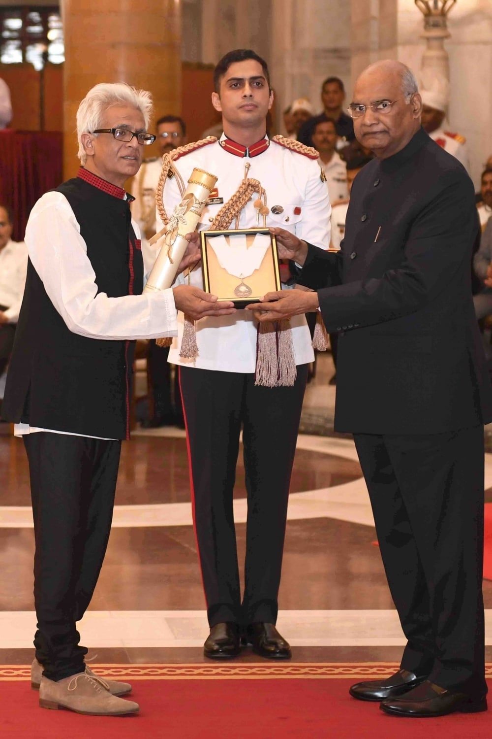 New Delhi: Singer-composer Bhupen Hazarika being posthumously honored with Bharat Ratna by President Ram Nath Kovind during an award ceremony at Rashtrapati Bhavan in New Delhi on Aug 8, 2019. (Photo: IANS/RB)
