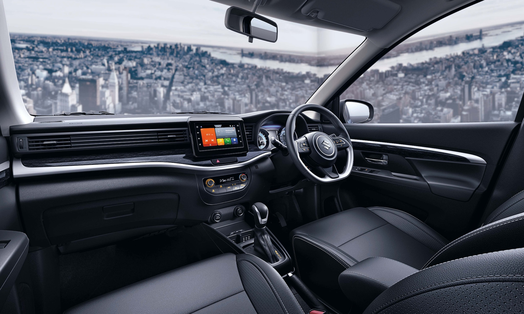 The all-black interiors, with Premium stone finish and rich silver accents sweeping across the cabin, impart a sophisticated touch. The slim wide instrument panel emphasizes the width of the car, adding to the overall feel of space and carrying forward the exterior design language. The leather-wrapped flat-bottom steering wheel with easy-access controls and cruise control switches further adds convenience to style.