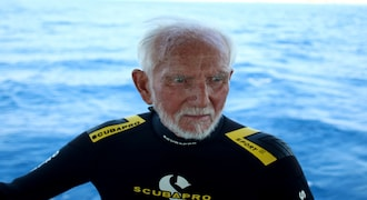 Ray Woolley, diver and World War Two veteran, is seen before breaking a new diving record as he turns 96 by taking the plunge at the Zenobia, a cargo ship wreck off the Cypriot town of Larnaca, Cyprus August 31, 2019. REUTERS/Yiannis Kourtoglou