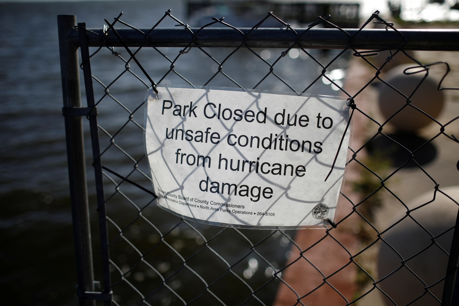 A sign is seen at Veterans Memorial Park ahead of the arrival of Hurricane Dorian in Titusville, Florida, U.S., September 1, 2019. REUTERS/Marco Bello
