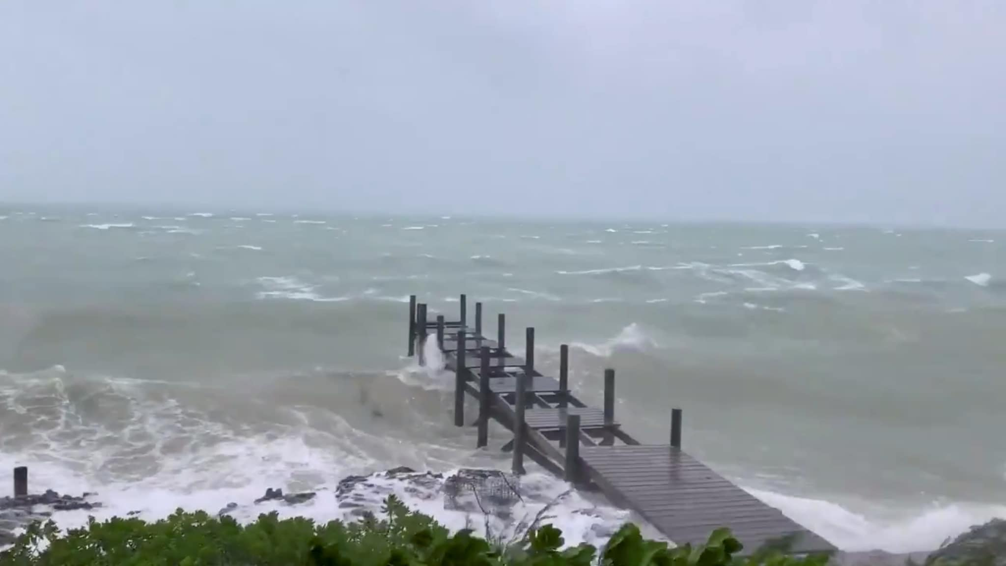 Sea conditions are seen in Marsh Harbour, Bahamas September 1, 2019 in this still image taken from a video by social media. Mark Hall/Christopher Hall via REUTERS