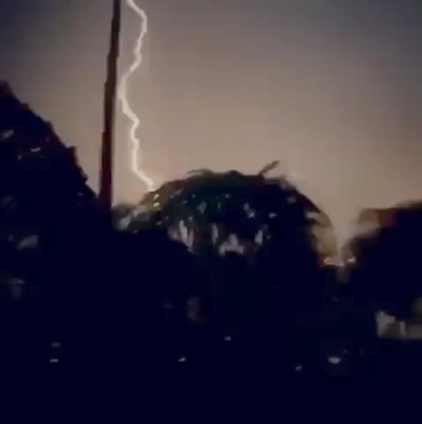 A lightning strike is seen during stormy weather, at Atlantis Bahamas Resort in Paradise Island, Bahamas September 1, 2019 in this still image taken from a video by social media. David L Hugon via REUTERS