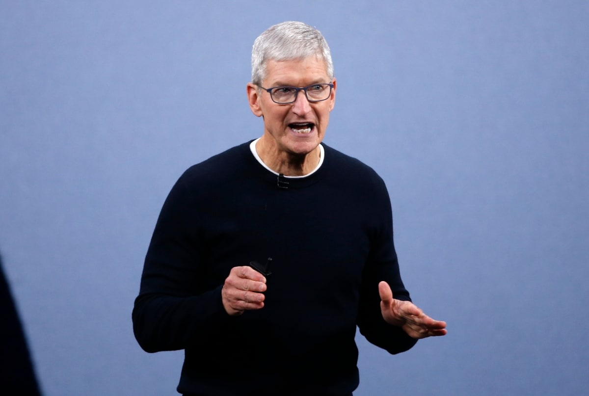 CEO Tim Cook speaks at an Apple event at their headquarters in Cupertino, California, U.S. September 10, 2019. REUTERS/Stephen Lam.