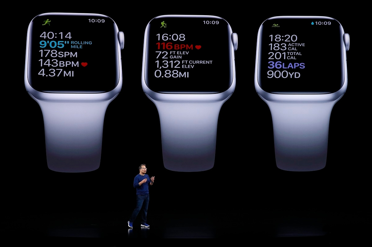 Apple unveiled an updated watch, the Series 5, with an always-on display, starting at $399, while keeping the older Series 3 starting at $199. (REUTERS/Stephen Lam)