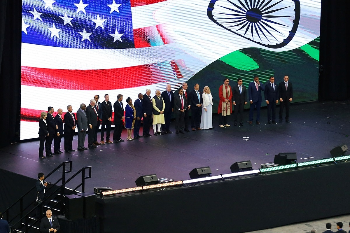 India's Prime Minister Narendra Modi stands with several United States dignitaries during a