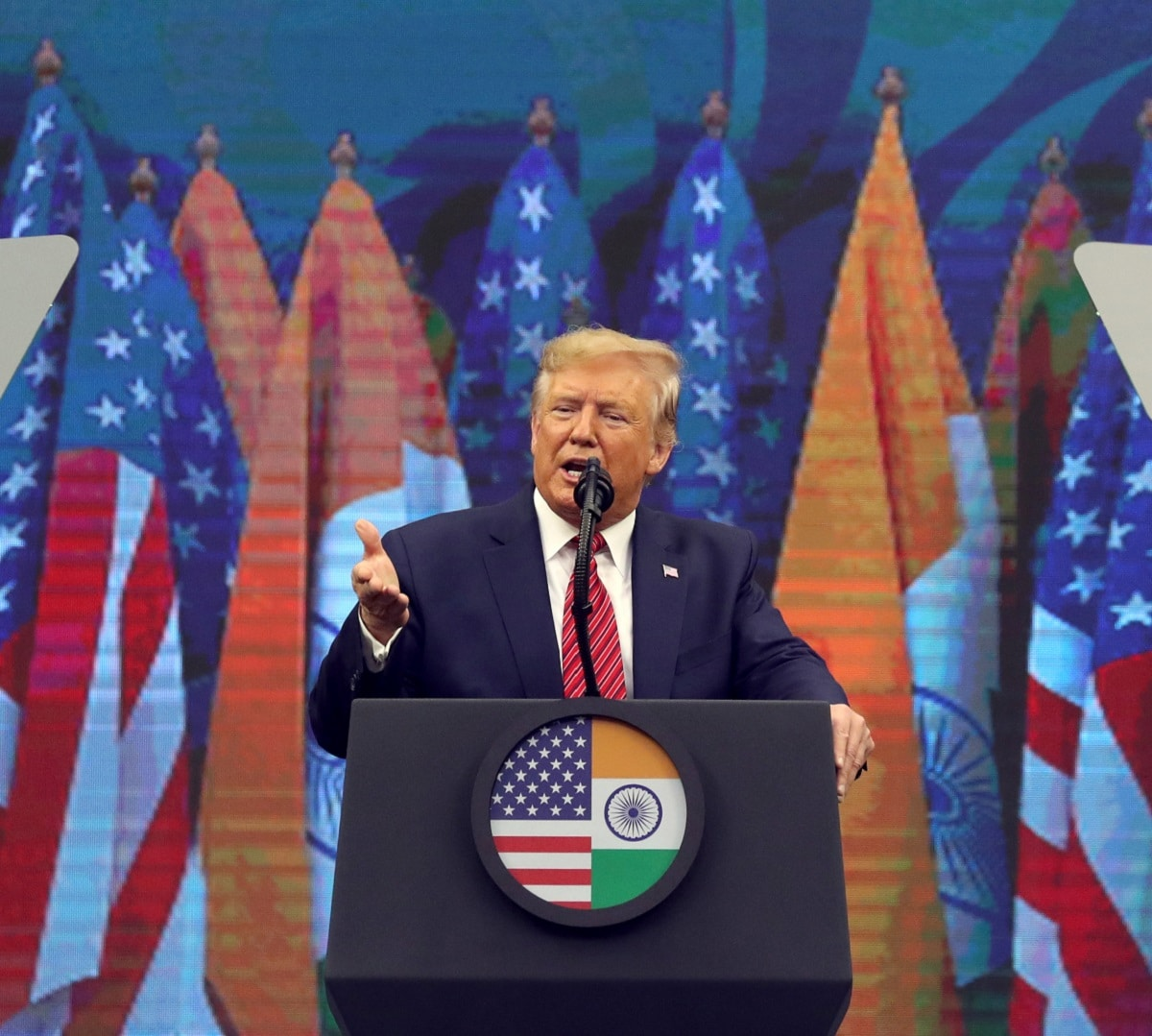 US President Donald Trump speaks during the