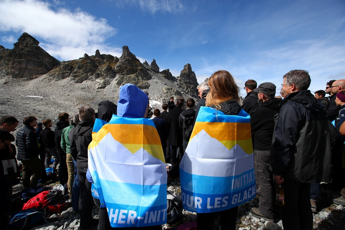 The gathering in Switzerland, which has about 1,500 glaciers, mirrors an action in August when activists and others in Iceland commemorated a melted glacier there. REUTERS/Denis Balibouse