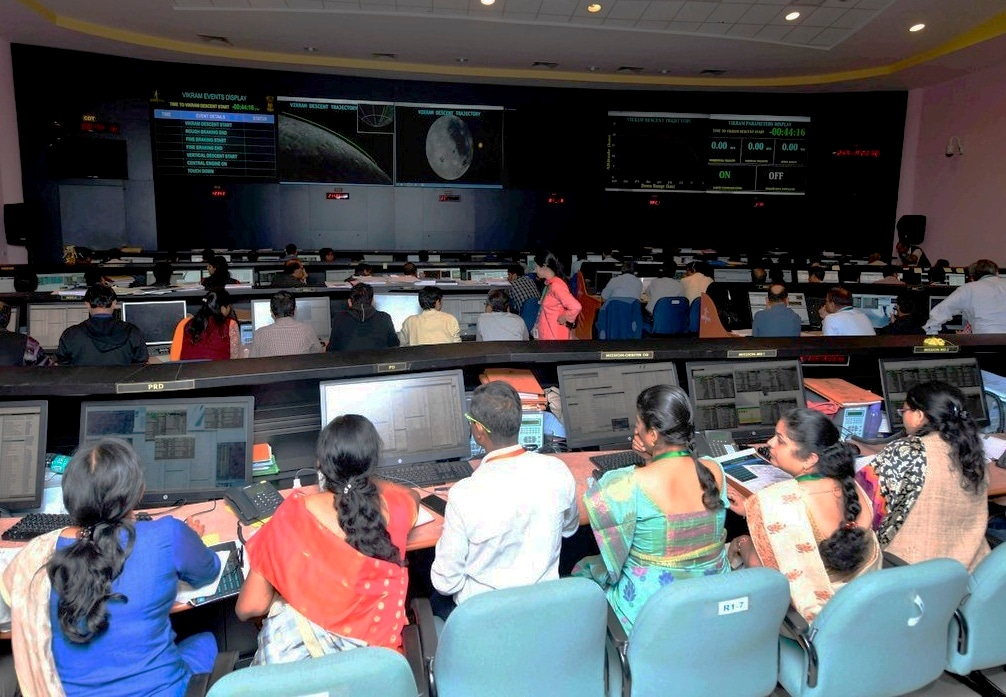 Officials watch the live telecast of Chandrayaan 2 at ISRO Telemetry Tracking and Command Network (ISTRAC) prior to the soft landing of Vikram module of Chandrayaan 2 on the lunar surface, in Bengaluru, Saturday, Sept. 7, 2019. (Twitter/PTI Photo)