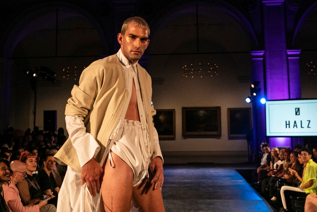 The HALZ collection is modelled during the dapperQ fashion show at the Brooklyn Museum on Thursday, September 5, 2019, in New York. (AP Photo/Jeenah Moon)