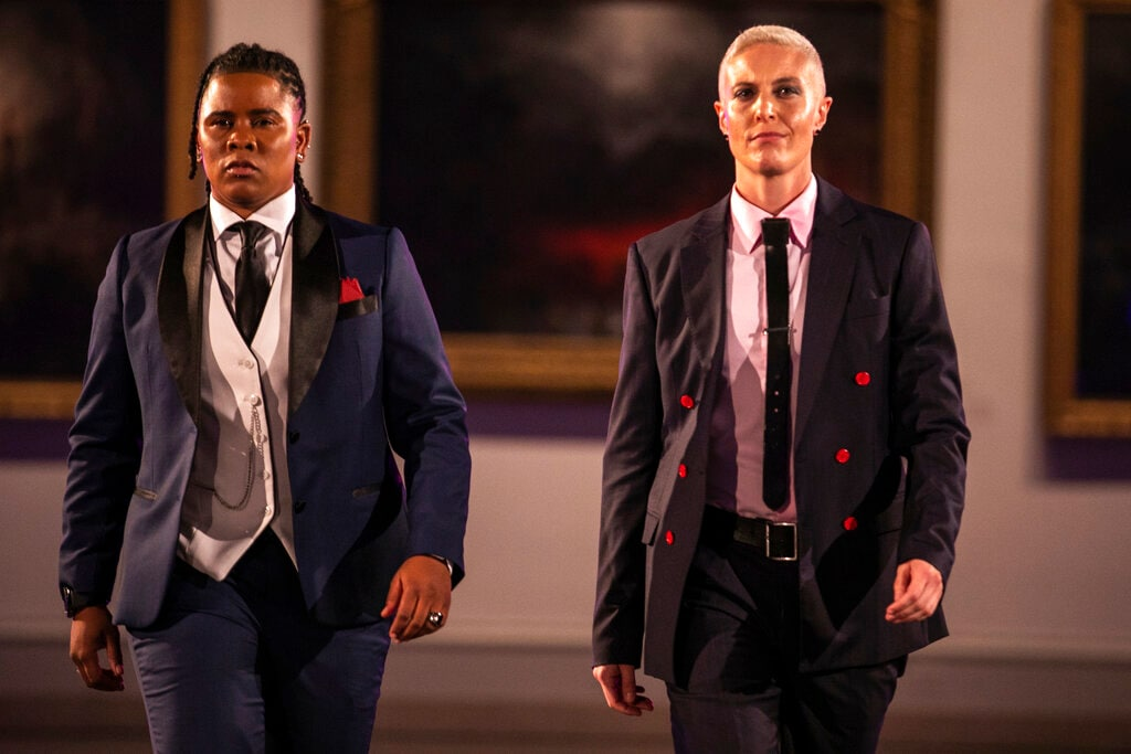 The Shane Ave. collection is modelled during the dapperQ fashion show at the Brooklyn Museum on Thursday, September 5, 2019, in New York. (AP Photo/Jeenah Moon)