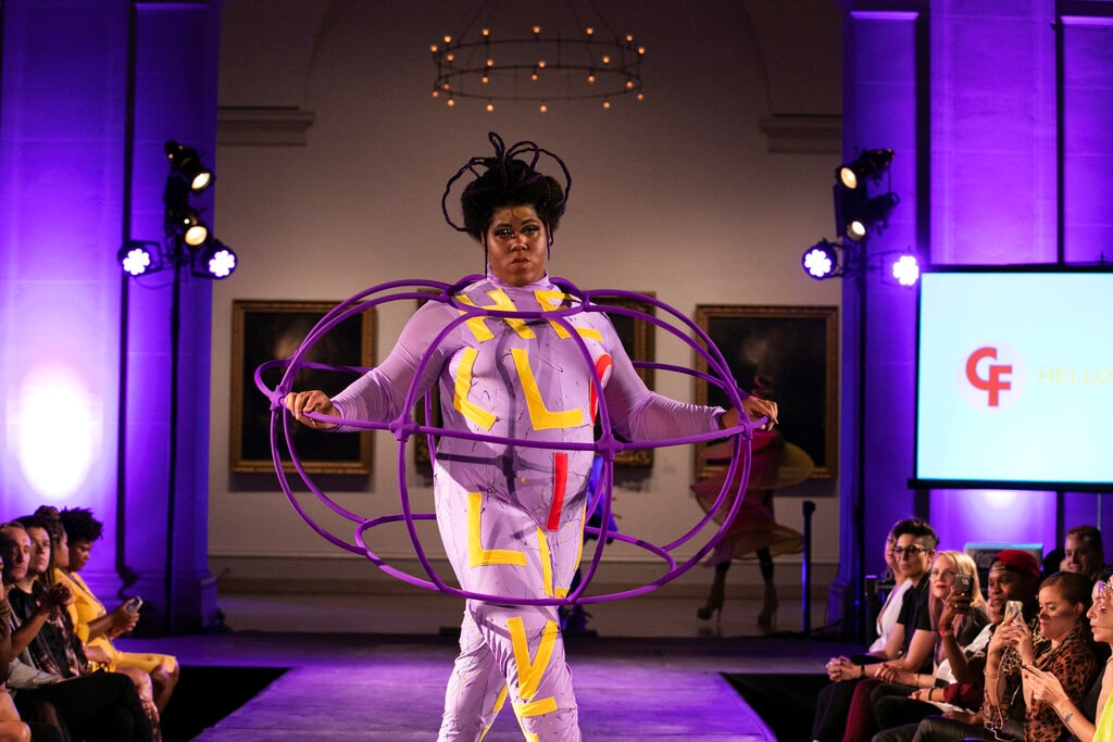 The Claire Fleury collection is modelled during the dapperQ fashion show at the Brooklyn Museum on Thursday, September 5, 2019, in New York. (AP Photo/Jeenah Moon)