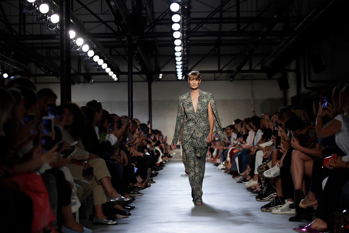 A model wears a creation as part of the N. 21 Spring-Summer 2020 collection, unveiled during the fashion week. (AP Photo/Luca Bruno)