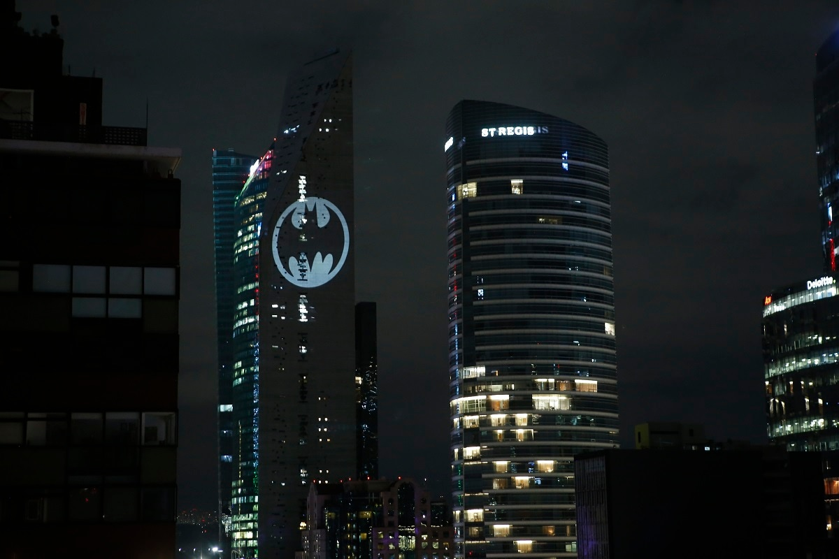 A Bat-signal is lit in the Torre Reforma during the commemorating of Batman's 80th anniversary in Mexico City. (AP Photo/Ginnette Riquelme)