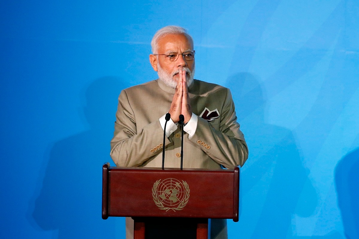 India's Prime Minister Narendra Modi addresses the Climate Action Summit in the United Nations General Assembly, at UN headquarters. (AP Photo/Jason DeCrow)