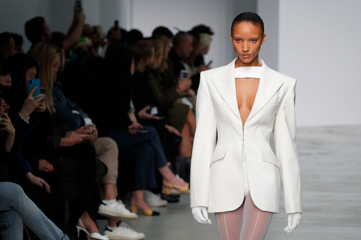 A model wears a creation as part of the Mugler Ready To Wear Spring-Summer 2020 collection, unveiled during the fashion week, in Paris, Wednesday, Sept. 25, 2019. (AP Photo/Francois Mori)