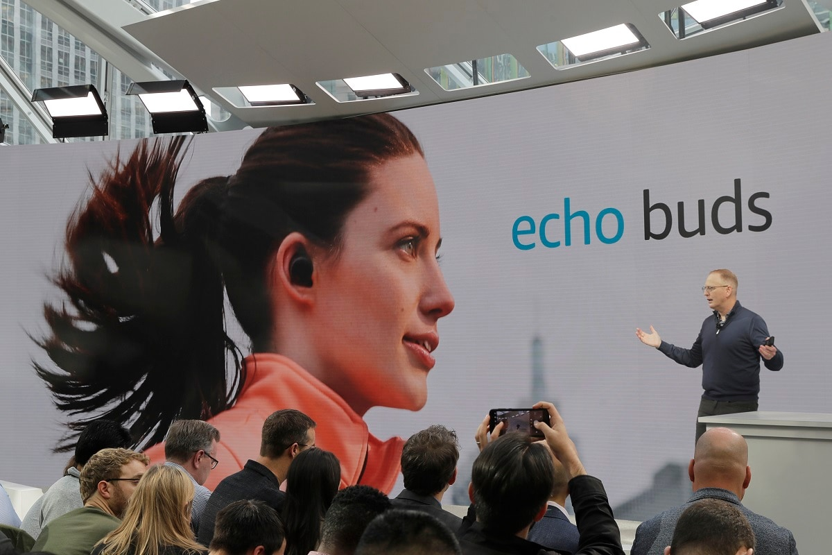 The online shopping giant said Wednesday that it will soon start selling wireless earbuds, finger rings and prescription eyeglasses with its Alexa voice assistant built-in. (AP Photo/Ted S. Warren)
