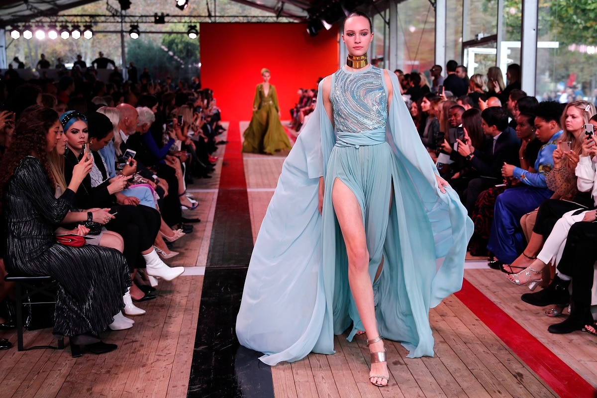 A model wears a creation as part of the Elie Saab Ready To Wear Spring-Summer 2020 collection, unveiled during the fashion week. (AP Photo/Francois Mori)