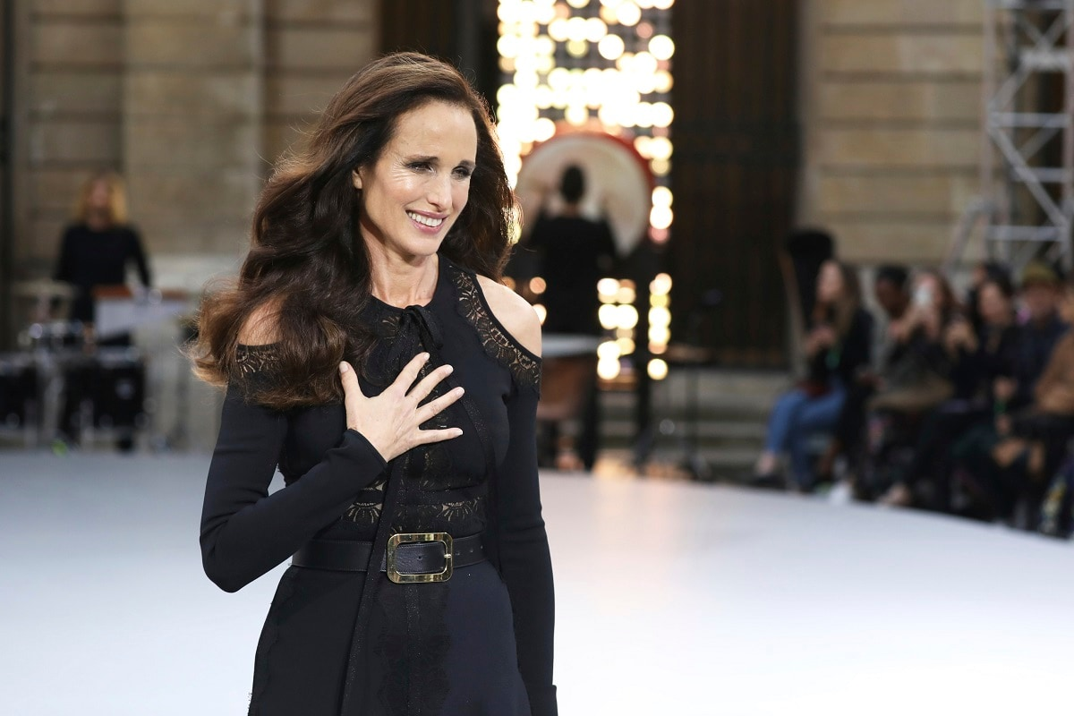Actress Andie MacDowell wears a creation as part of the L'Oreal Ready To Wear Spring-Summer 2020 collection, unveiled during the fashion week in Paris. (Photo by Vianney Le Caer/Invision/AP)