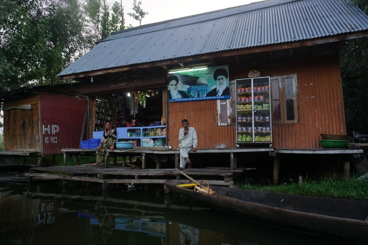 A provision store in the Dal Lake in Srinagar, Jammu and Kashmir.