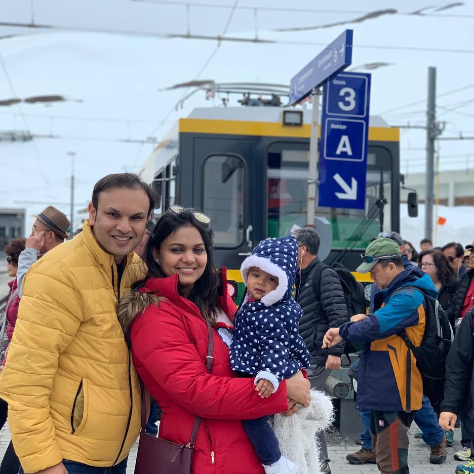 Pallavi with husband Ankur Jain and baby Amelia