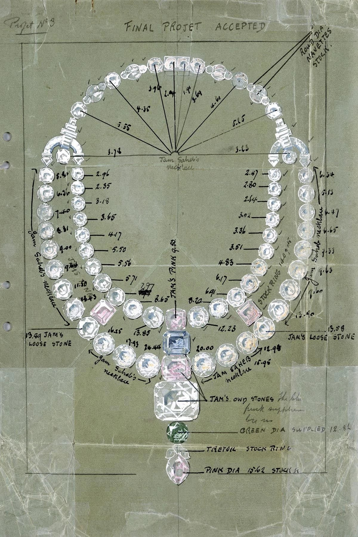 Cartier's sketch of the Nawanagar necklace