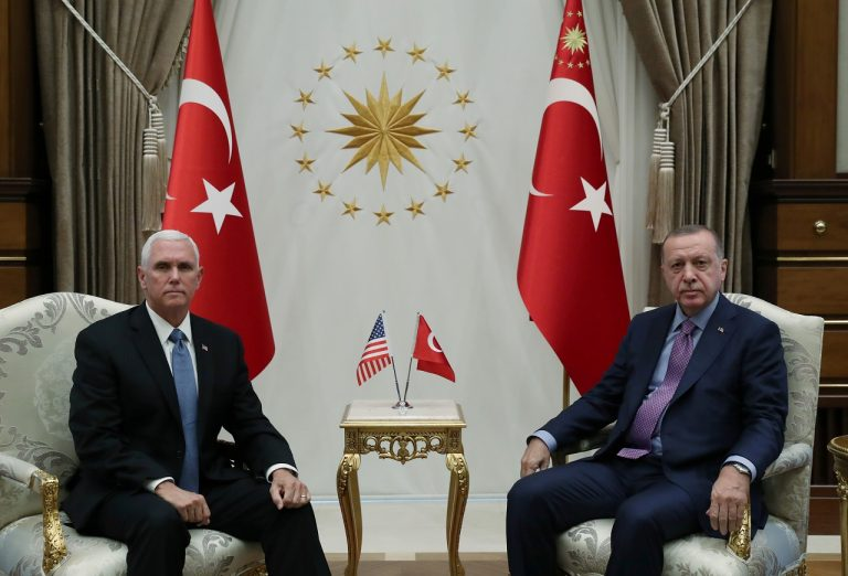 Mike Pence meets Tayyip Erdogan to urge halt to Turkey's Syria offensive