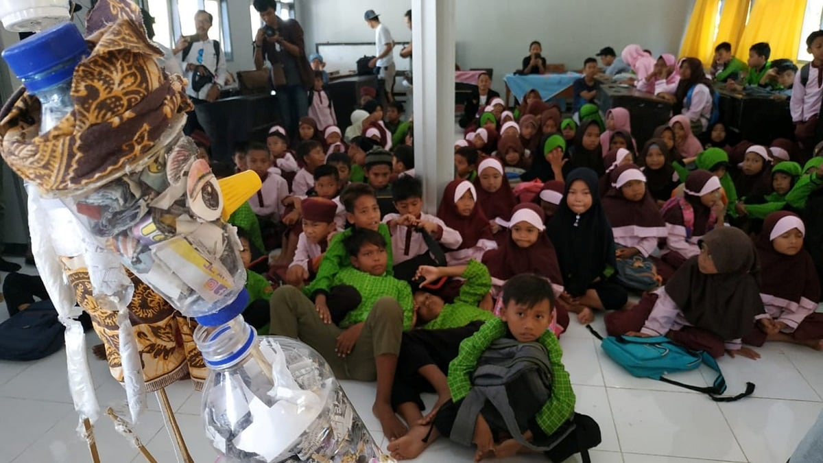 Abdul Latief's troupe started to make puppets from plastic waste last year. It is a disposal method that generates educational material for audiences dominated by children, in a country home to a strong tradition of shadow puppetry, known as wayang kulit. Mandatory credit Sasak Puppeteer School/Handout via REUTERS