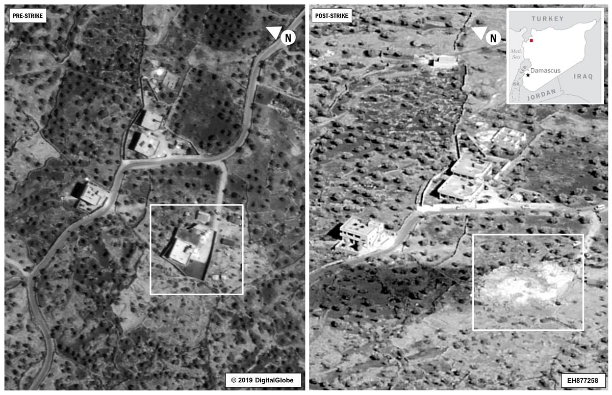 A side by side comparison of the compound of Islamic State leader Abu Bakr al-Baghdadi is seen before and after an airstrike in the Idlib region of Syria. The Pentagon on Wednesday released its first images from last weekend's commando raid in Syria that led to the death of Islamic State leader Abu Bakr al-Baghdadi and warned the militant group may attempt to stage a