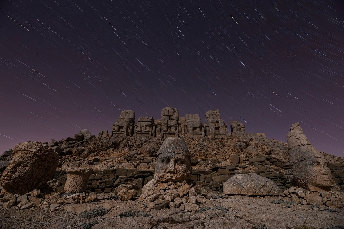 Massive stone head statues are seen at the archaeological site of Mount Nemrut in Adiyaman, southeastern Turkey, a UNESCO World Heritage Site since 1987. (AP Photo/Emrah Gurel)