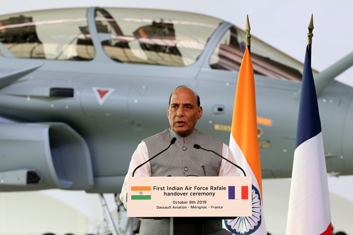 Minister Rajnath Singh delivers a speech during the handover ceremony at the Dassault Aviation plant in Merignac. (AP Photo/Bob Edme)
