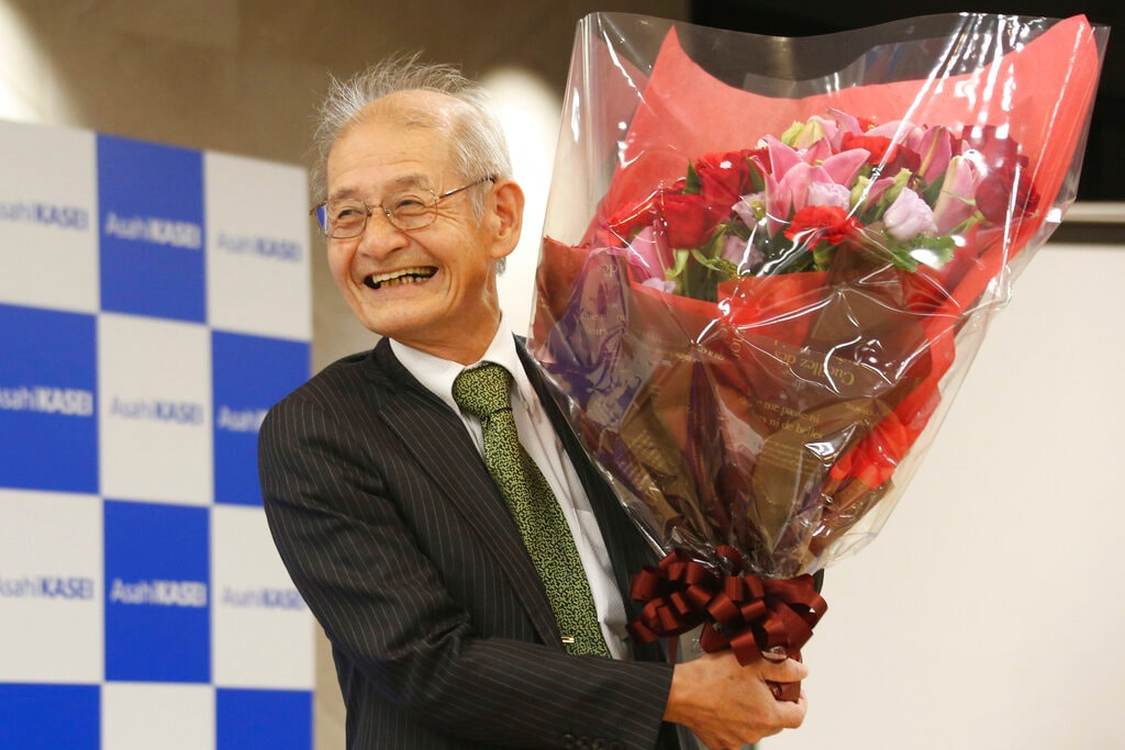 Winner of Nobel Prize in chemistry Akira Yoshino smiles during a press conference in Tokyo, Wednesday, Oct. 9, 2019. Yoshino is one of three scientists to have won this year's Nobel Prize in chemistry for their contributions to lithium-ion batteries, which have reshaped energy storage and transformed cars, mobile phones and many other devices in an increasingly portable and electronic world. (AP Photo/Koji Sasahara)