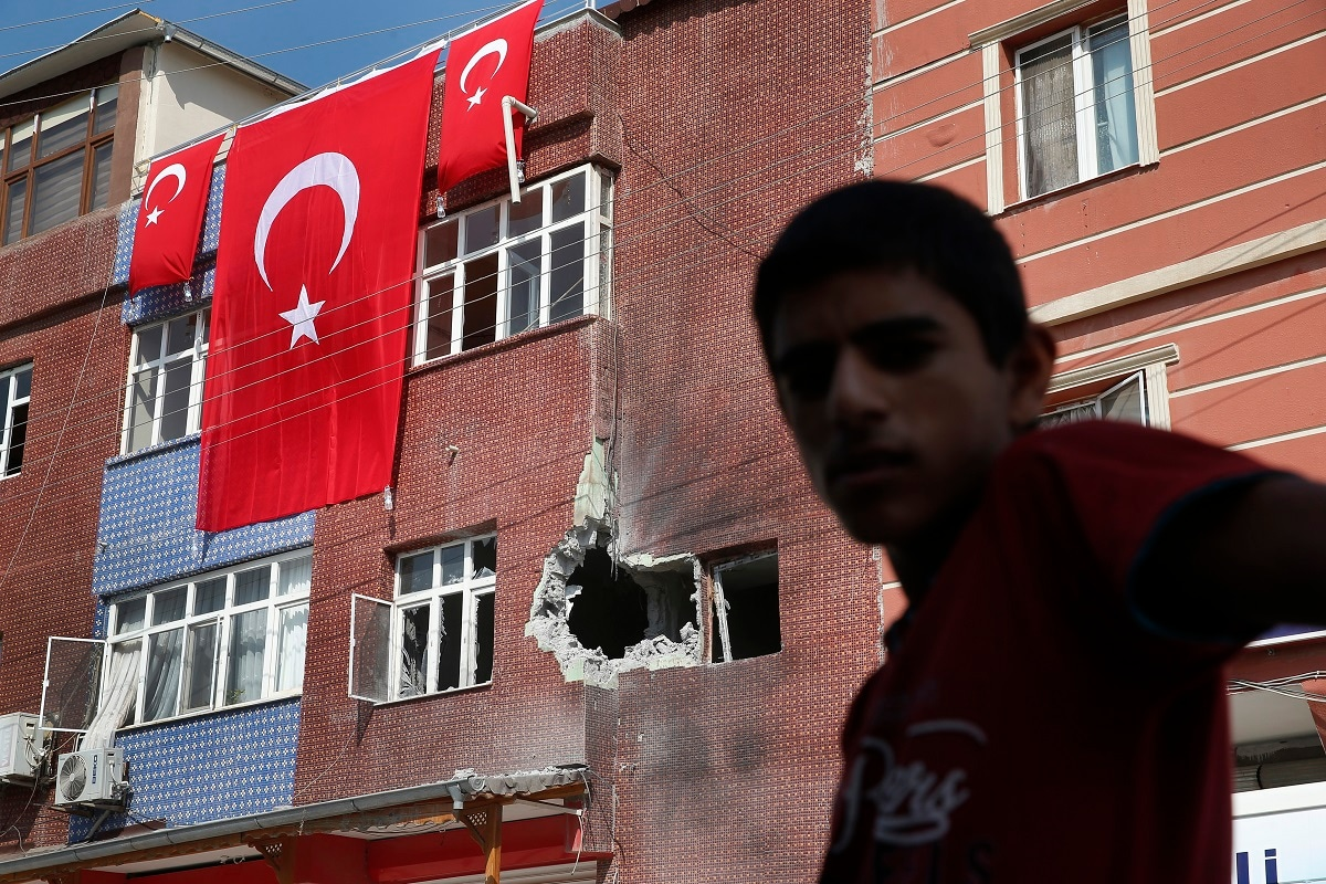 Turkey says a total of 20 civilians were killed by shelling inside Turkey, while six Turkish soldiers and 74 Turkish-backed Syrian opposition fighters were killed in the fighting. (AP Photo/Lefteris Pitarakis)