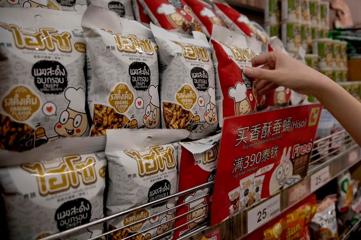They come in original, barbecue and tom yam flavours, and can be found in Thailand's ubiquitous 7-Eleven shops and in a major supermarket chain. Crickets are priced at 25 baht (83 cents) for a bag; at the high end, a tube of bamboo worms costs 160 baht ($5.29). (AP Photo/Sakchai Lalit)