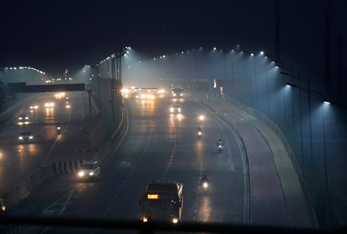 Vehicles ply amidst light smog in New Delhi. The national capital's air quality dropped to the season's worst on the morning after the festival of Diwali, but the situation was still better than the last three years, according to government agencies. (AP Photo/Manish Swarup)