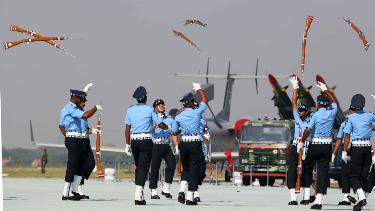 IAF personnel perform a drill with their rifles during the 87th Air Force Day Parade 2019 at Air Force Station at Hindon in Ghaziabad. (Photo Credit: IAF)