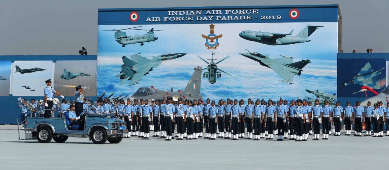 Indian Air Force's chief Air Chief Marshal Rakesh Kumar Bhadauria is seen reviewing the parade. (Photo Credit: IAF)