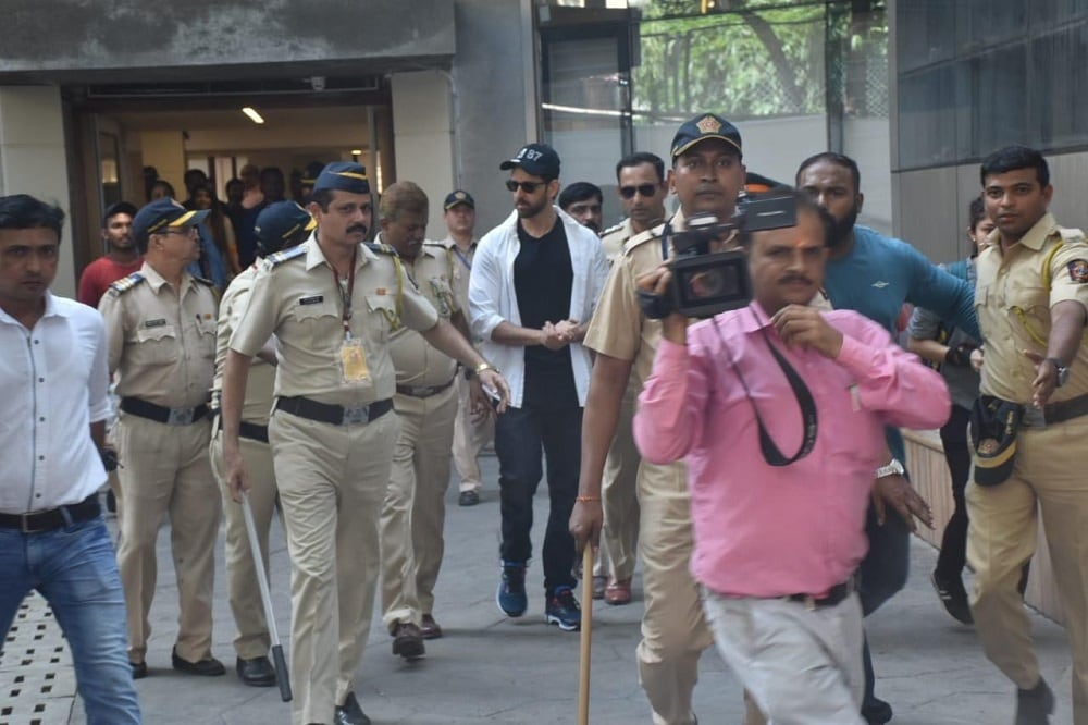 Bollywood actor Hrithik Roshan leaves after casting his vote in Mumbai.