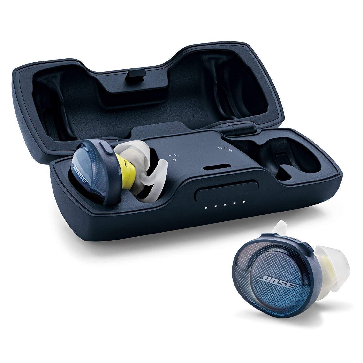 Bose Sound Sport Free (Rs 18,989): Bose is an audio brand known for its premium offering with unmatched audio output. Their true wireless earbuds come with a stylish appearance and use Bose's proprietary StayHear+ Sports tips for a secure yet comfortable fit. In addition, they are sweat and weather resistant making them great for exercise. You get up to 5 hours of playback with additional 10 hours via the charging case. It also supports fast charge – 15 minutes of charge gives up to 45 minutes of usage time. The only drawback is that it supports voice calls only via the right earbud.