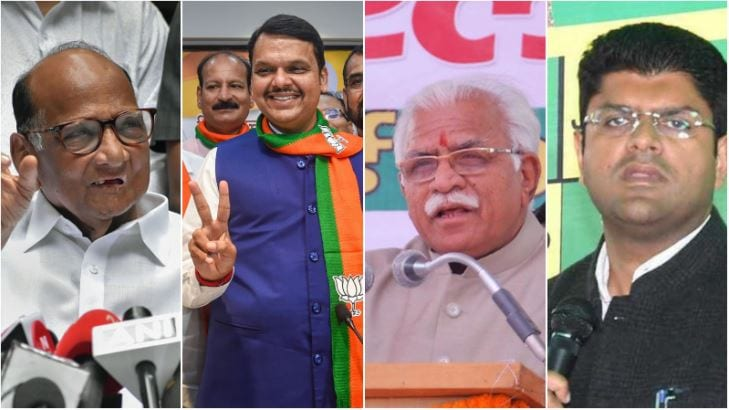 BJP misses halfway mark in Haryana; spars with Shiv Sena in Maharashtra over CM post