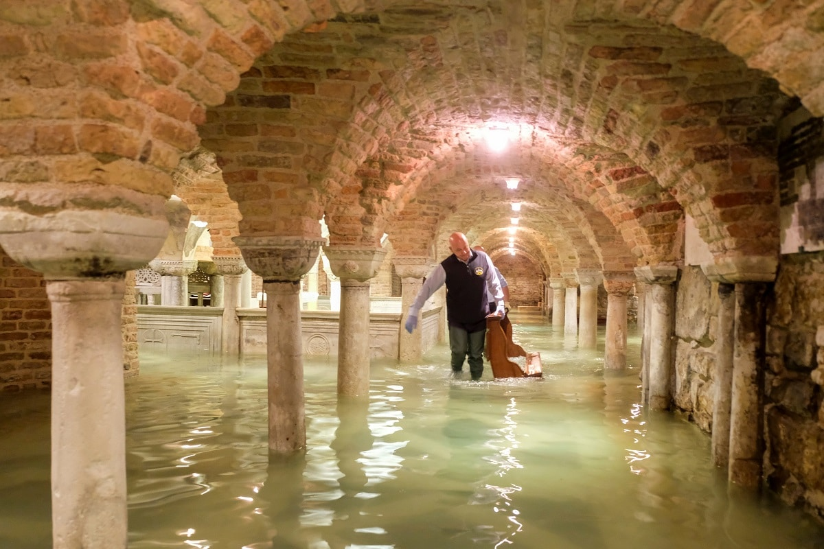 The flooded crypt of St Mark's Basilica is pictured during an exceptionally high water level in Venice. REUTERS/Manuel Silvestri