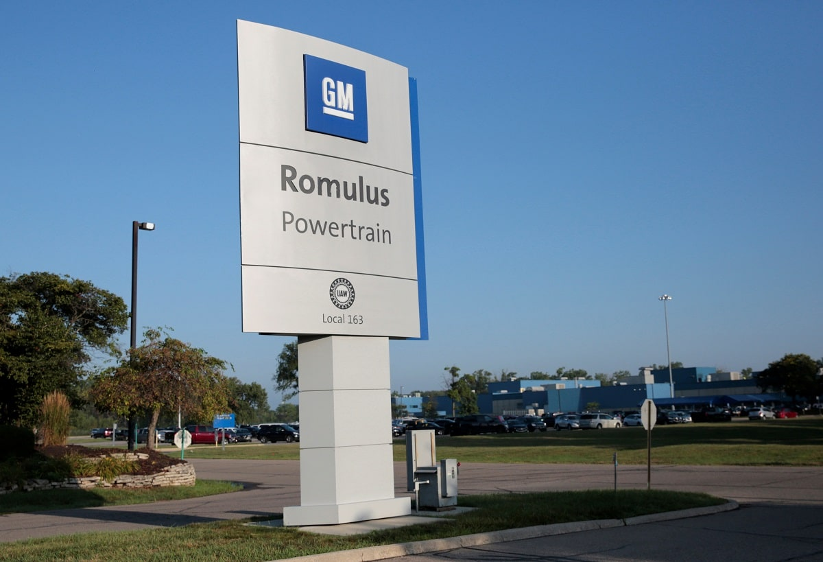 A GM Romulus Powertrain sign is seen outside the plant in Romulus, Michigan, U.S. Long before the pistons for General Motors Co V-6 engines reach the automaker's Romulus, Michigan plant, they are seasoned international travellers. Rebecca Cook