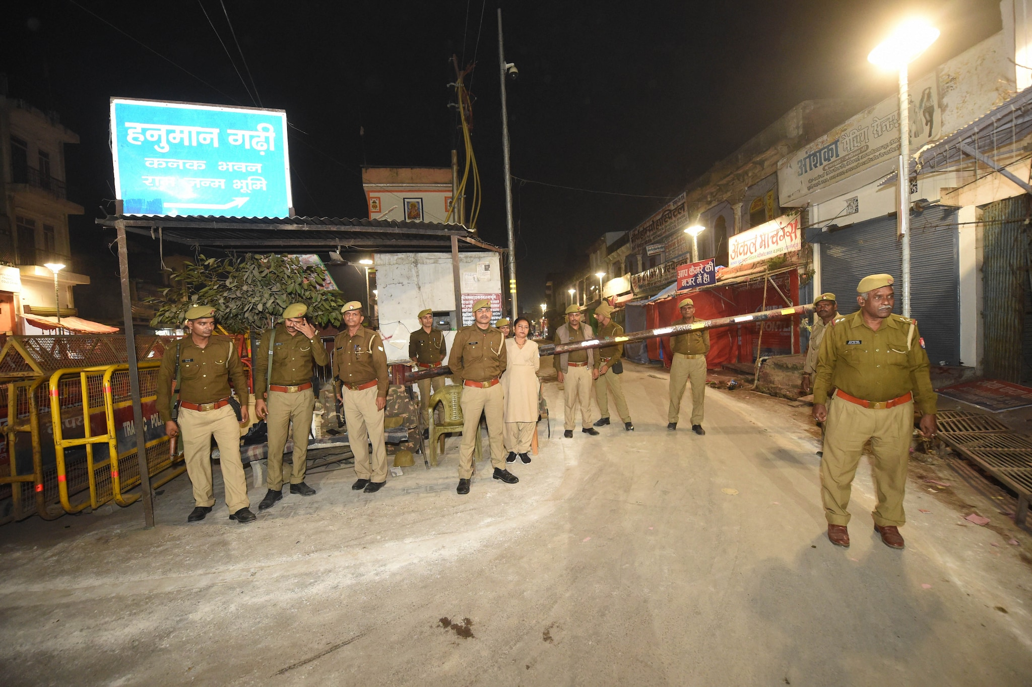 Police personnel near the site of disputed Ram Janambhoomi-Babri Masjid site, in Ayodhya, Friday, Nov. 8, 2019. (PTI Photo)