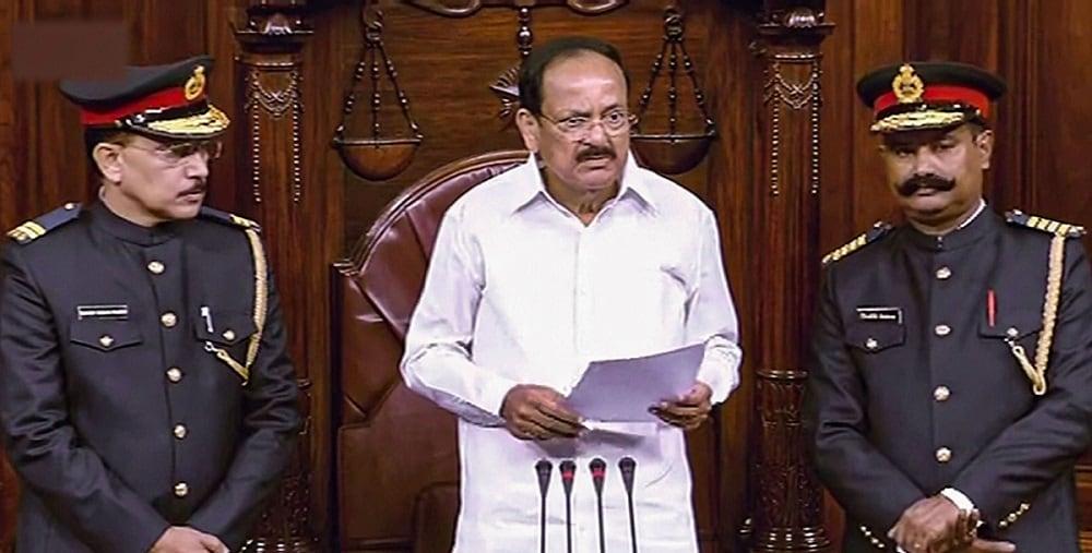 Rajya Sabha Chairman M Venkaiah Naidu addresses in the Rajya Sabha on the first day of the Winter Session of Parliament, in New Delhi. (RSTV/PTI Photo) (PTI11_18_2019_000091B)