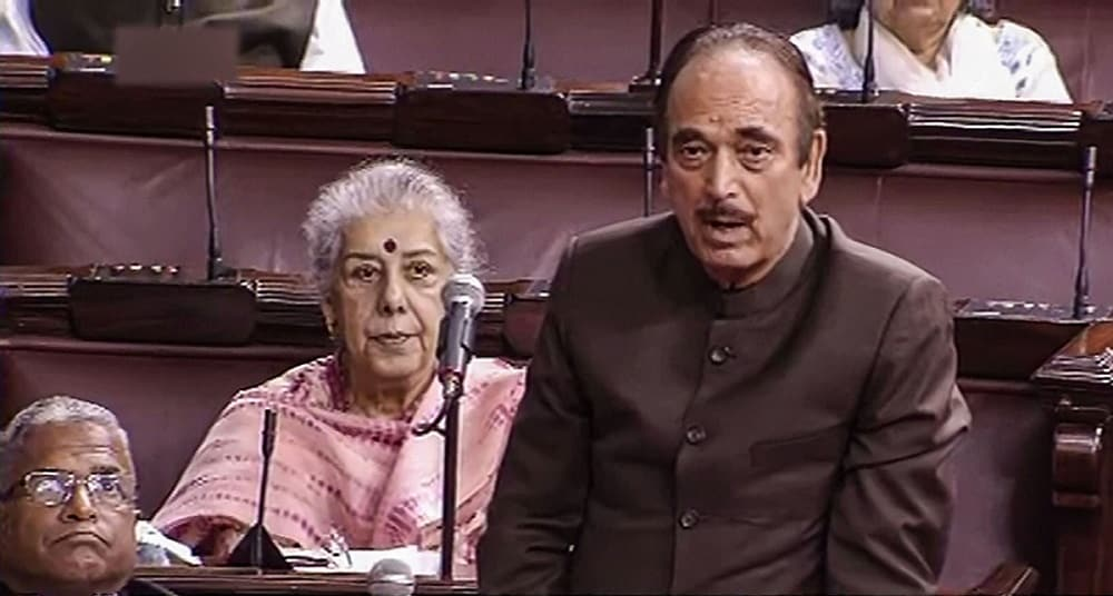 Senior Congress leader Ghulam Nabi Azad speaks in the Rajya Sabha on the first day of the Winter Session of Parliament. (RSTV/PTI Photo) (PTI11_18_2019_000092B)