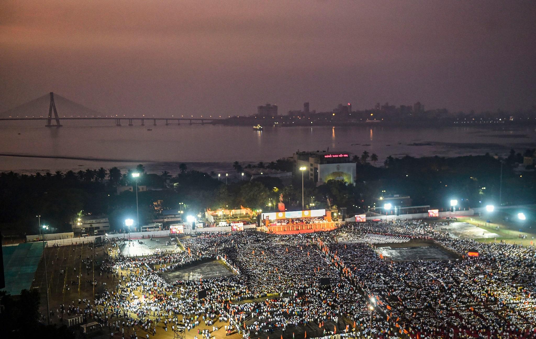 Aerial view of Shivaji Park during the Maharashtra ministry swearing-in ceremony, in Mumbai. (PTI Photo/Shashank Parade)