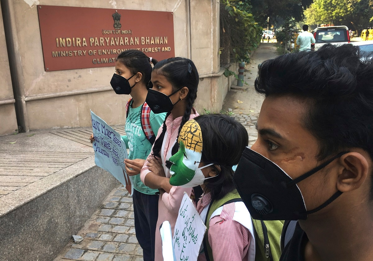 Schoolchildren protest outside the Indian Environment Ministry against alarming levels of pollution in the city. Air pollution in New Delhi and northern Indian states peaks in the winter as farmers in neighbouring agricultural regions set fire to clear land after the harvest and prepare for the next crop season. (AP Photo/Shonal Ganguly)