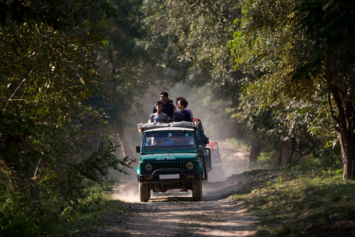Tourists ride on vehicles during re-opening of Pobitora wildlife sanctuary that was closed to tourists due to the monsoon season in Pobitora. (AP Photo/Anupam Nath)